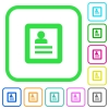 User profile vivid colored flat icons in curved borders on white background - User profile vivid colored flat icons