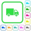 Delivery truck vivid colored flat icons - Delivery truck vivid colored flat icons in curved borders on white background