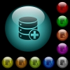 Add to database icons in color illuminated glass buttons - Add to database icons in color illuminated spherical glass buttons on black background. Can be used to black or dark templates