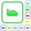 Sea transport vivid colored flat icons - Sea transport vivid colored flat icons in curved borders on white background
