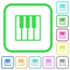 Piano keyboard vivid colored flat icons - Piano keyboard vivid colored flat icons in curved borders on white background