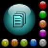 Multiple documents icons in color illuminated glass buttons - Multiple documents icons in color illuminated spherical glass buttons on black background. Can be used to black or dark templates