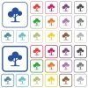 Leafy tree outlined flat color icons - Leafy tree color flat icons in rounded square frames. Thin and thick versions included.