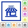 Store front flat framed icons - Store front flat color icons in square frames on white background