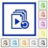 Undo last playlist operation flat framed icons - Undo last playlist operation flat color icons in square frames on white background