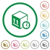 Package shipping time flat icons with outlines - Package shipping time flat color icons in round outlines on white background