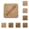 Sword wooden buttons - Sword on rounded square carved wooden button styles