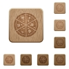 Pizza on rounded square carved wooden button styles - Pizza wooden buttons