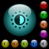Saturation control icons in color illuminated glass buttons - Saturation control icons in color illuminated spherical glass buttons on black background. Can be used to black or dark templates