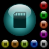SD memory card icons in color illuminated glass buttons - SD memory card icons in color illuminated spherical glass buttons on black background. Can be used to black or dark templates