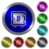 Bitcoin strong box icons on round luminous coin-like color steel buttons
