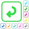 Return arrow vivid colored flat icons in curved borders on white background - Return arrow vivid colored flat icons