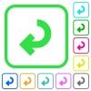 Return arrow vivid colored flat icons - Return arrow vivid colored flat icons in curved borders on white background