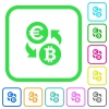 Euro Bitcoin money exchange vivid colored flat icons - Euro Bitcoin money exchange vivid colored flat icons in curved borders on white background