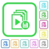 Save playlist vivid colored flat icons - Save playlist vivid colored flat icons in curved borders on white background