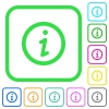 Information vivid colored flat icons - Information vivid colored flat icons in curved borders on white background