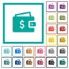 Dollar wallet flat color icons with quadrant frames - Dollar wallet flat color icons with quadrant frames on white background