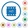 HD movie format icons with shadows and outlines - HD movie format flat color vector icons with shadows in round outlines on white background