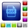 RAR file format color square buttons - RAR file format icons in rounded square color glossy button set