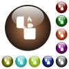 Lighter color glass buttons - Lighter white icons on round color glass buttons