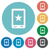 Mobile mark flat round icons - Mobile mark flat white icons on round color backgrounds