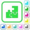 Puzzles vivid colored flat icons - Puzzles vivid colored flat icons in curved borders on white background