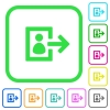 User logout vivid colored flat icons - User logout vivid colored flat icons in curved borders on white background