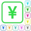 Japanese Yen sign vivid colored flat icons - Japanese Yen sign vivid colored flat icons in curved borders on white background