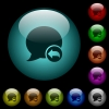 Reply blog comment icons in color illuminated glass buttons - Reply blog comment icons in color illuminated spherical glass buttons on black background. Can be used to black or dark templates