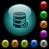 Disabled database icons in color illuminated glass buttons - Disabled database icons in color illuminated spherical glass buttons on black background. Can be used to black or dark templates