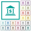 Dollar bank office flat color icons with quadrant frames - Dollar bank office flat color icons with quadrant frames on white background
