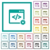 Web development flat color icons with quadrant frames - Web development flat color icons with quadrant frames on white background