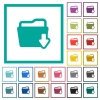 Download folder flat color icons with quadrant frames - Download folder flat color icons with quadrant frames on white background