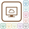 Cloud computing simple icons - Cloud computing simple icons in color rounded square frames on white background