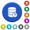 Database query round color beveled buttons with smooth surfaces and flat white icons - Database query beveled buttons
