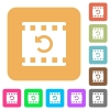 Undo movie changes rounded square flat icons - Undo movie changes flat icons on rounded square vivid color backgrounds.