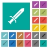 Sword square flat multi colored icons - Sword multi colored flat icons on plain square backgrounds. Included white and darker icon variations for hover or active effects.