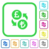 Pound Lira money exchange vivid colored flat icons - Pound Lira money exchange vivid colored flat icons in curved borders on white background