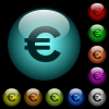 Euro sign icons in color illuminated glass buttons - Euro sign icons in color illuminated spherical glass buttons on black background. Can be used to black or dark templates