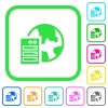 Web hosting vivid colored flat icons - Web hosting vivid colored flat icons in curved borders on white background