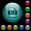 XLS file format icons in color illuminated glass buttons - XLS file format icons in color illuminated spherical glass buttons on black background. Can be used to black or dark templates