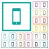 Cellphone with blank display flat color icons with quadrant frames - Cellphone with blank display flat color icons with quadrant frames on white background
