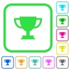 Trophy cup vivid colored flat icons - Trophy cup vivid colored flat icons in curved borders on white background