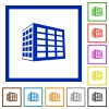 Office block flat framed icons - Office block flat color icons in square frames on white background