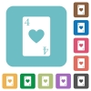 Four of hearts card rounded square flat icons - Four of hearts card white flat icons on color rounded square backgrounds