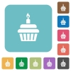 Birthday cupcake rounded square flat icons - Birthday cupcake white flat icons on color rounded square backgrounds