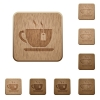 Cup of tea with teabag wooden buttons - Cup of tea with teabag on rounded square carved wooden button styles
