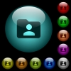 Folder owner icons in color illuminated glass buttons - Folder owner icons in color illuminated spherical glass buttons on black background. Can be used to black or dark templates