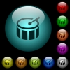 Drum icons in color illuminated glass buttons - Drum icons in color illuminated spherical glass buttons on black background. Can be used to black or dark templates