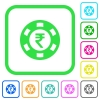 Indian Rupee casino chip vivid colored flat icons - Indian Rupee casino chip vivid colored flat icons in curved borders on white background